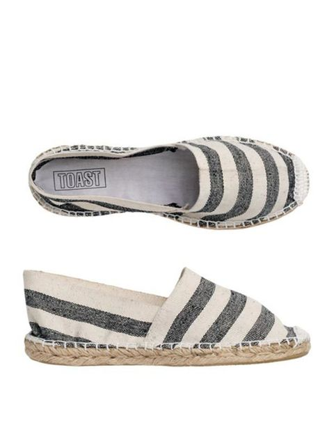 "<p><a href=""http://www.toast.co.uk/product/footwear/FFAH5/Canvas+Espadrille.htm?categoryref=%2Fcategory.aspx%3Fcategoryid%3Dfootwear%26seoterm%3Dfootwear%26nopaging%3Dtrue%26&pcat=footwear&adimag"">Toast</a> striped canvas espadrilles, £18</p>"