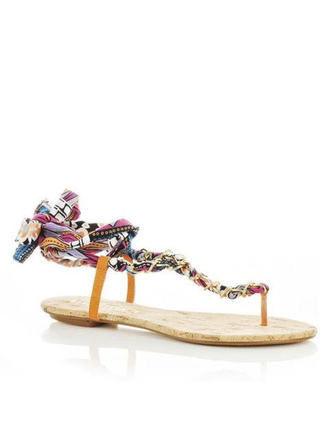 "<p><a href=""http://www.riverisland.com/Online/women/shoes--boots/sandals--flip-flops/pink-print-chain-tie-sandals-601739"">River Island</a> chain tie sandals, £21.99</p>"