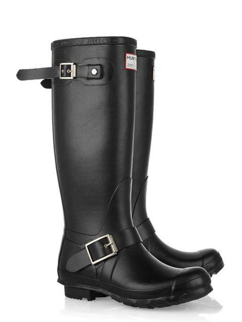 "<p>Jimmy Choo for Hunter biker wellington boots, £255, at <a href=""http://www.net-a-porter.com/product/161335"">Net-a-Porter</a></p>"