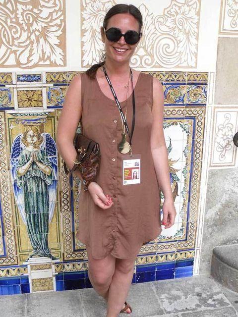 <p>Camilla, 30, Journalist. Monkey shirt dress, Topshop sandals, Mulberry bag, YSL sunglasses, Gucci watch, Chanel ring.</p>