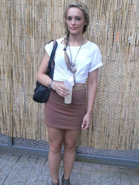 <p>Mary-Julie, 23, Marketing Assistant. Topshop t-shirt, H&M skirt, New Look shoes and necklace, Primark bag.</p>