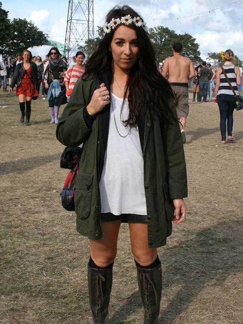 <p>Photo by Sara D'souza. Daniella Pagano, 26, Designer. Vintage Barbour jacket, Cos top, vintage shorts, Topshop necklace, Primark headband.</p>