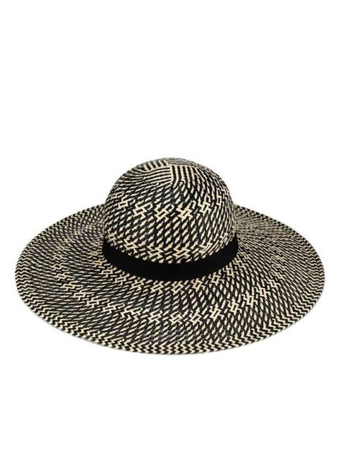 "<p><a href=""http://www.accessorize.com/en/restofworld/hats+fascinators/contrast-weave-zig-zag-floppy/invt/89143890/?bklist=icat,4,shop,beachshop,beachhats"">Accessorize</a> patterned wide-brimmed hat, £22</p>"