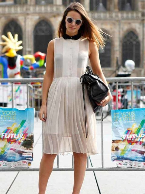 "<p>Photo by Anthea Simms.Zina, 26, Fashion Blogger. H&M dress and shoes, <a href=""http://shopping.elleuk.com/browse?fts=balenciaga"">Balenciaga</a> bag, Emporio Armani sunglasses.</p>"