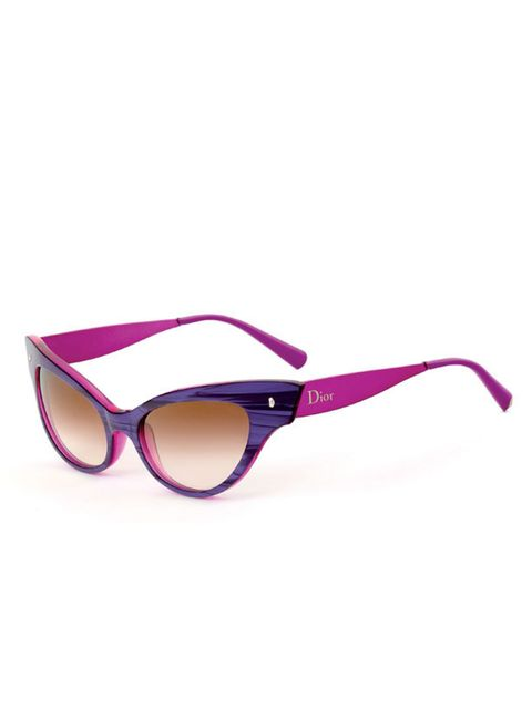 <p>Dior pink and purple cats eye sunglasses, £289, for stockists call 01423 520 303</p>