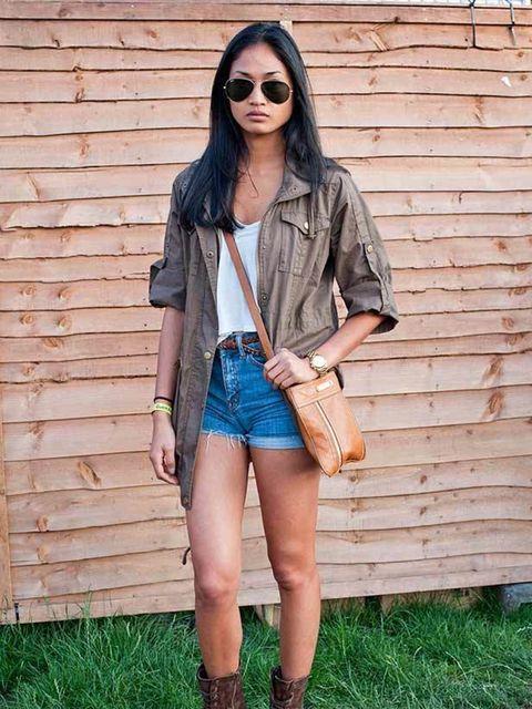 <p>Photo by Kirstin Sinclair.Meryl, 27, Model. Zara jacket, Brandy Melville top, Urban outfitters shorts & belt, Aldo boots. </p>