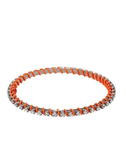 "<p><a href=""http://www.kabiri.co.uk/neon-orange-crystal-bracelet.html"">Kabiri</a> neon & crystal bracelet, £57</p>"