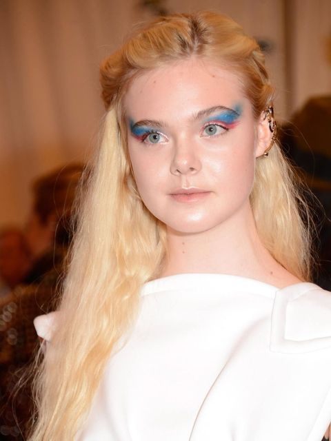 <p>Elle Fanning's use of colour is totally on-trend – those exaggerated blue wings really pack a punch.</p>