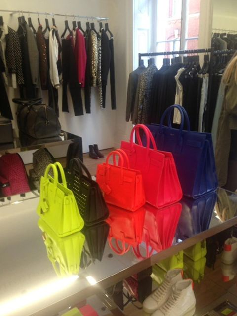 <p>Tuesday. Colour-pop bag from little to large at the Saint Laurent press day</p>