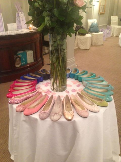 <p>Wednesday. A rainbow of pretty pumps at the French Sole SS14 press day</p>