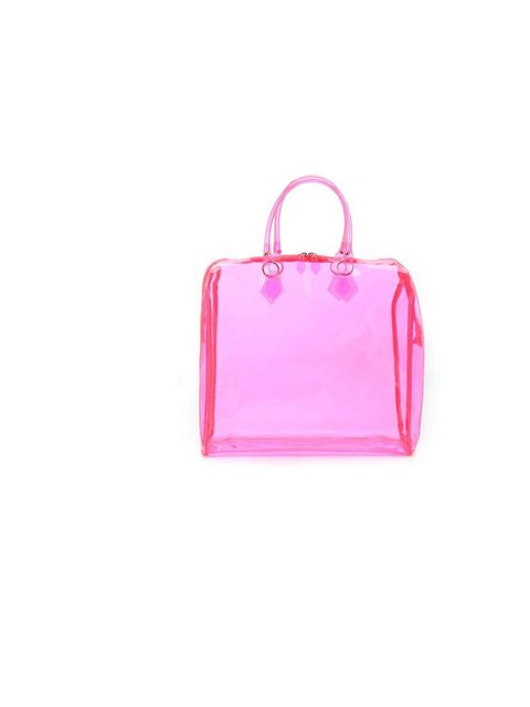 """<p>You'll be needing those sunglasses to shield your eyes from this shocking pink number! The top-handle design is a ladylike classic, but the clear vinyl reinvents it in an unexpected and kitsch way... <a href=""""http://www.newlook.com/shop/womens/bags-and"""