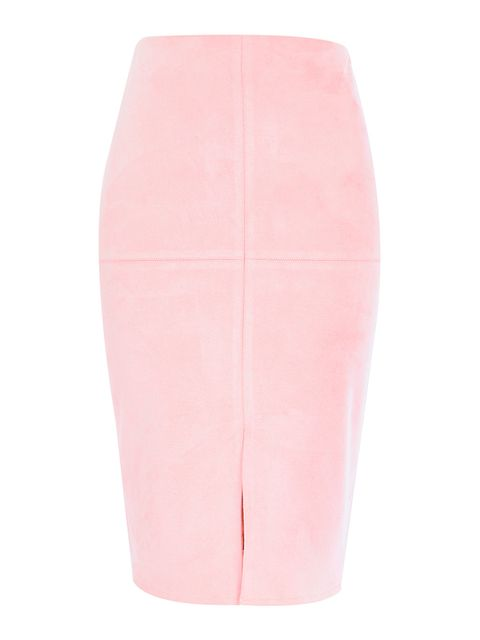 "<p><a href=""http://www.riverisland.com/women/skirts/tube--pencil-skirts/light-pink-faux-suede-pencil-skirt-671963"" target=""_blank"">River Island</a> skirt, £32</p>"