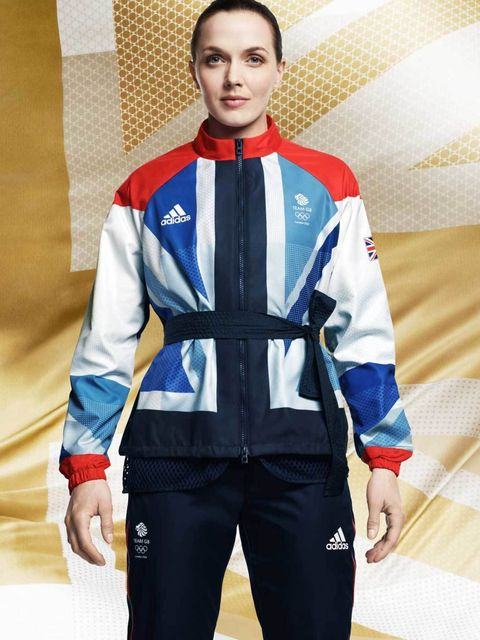 <p>Olympic athlete Victoria Pendleton in her Adidas British team kit for the London 2012 Olympic and Paralympics games – designed by Stella McCartney </p>