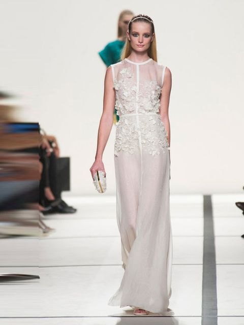"""<p><a href=""""http://www.elleuk.com/catwalk/designer-a-z/elie-saab/spring-summer-2014/collection"""">Elie Saab</a>, Spring/ Summer 2014.</p><p>This is barely there, with big impact. Concentrated, decorative detail results in a light-as-air full length, that do"""