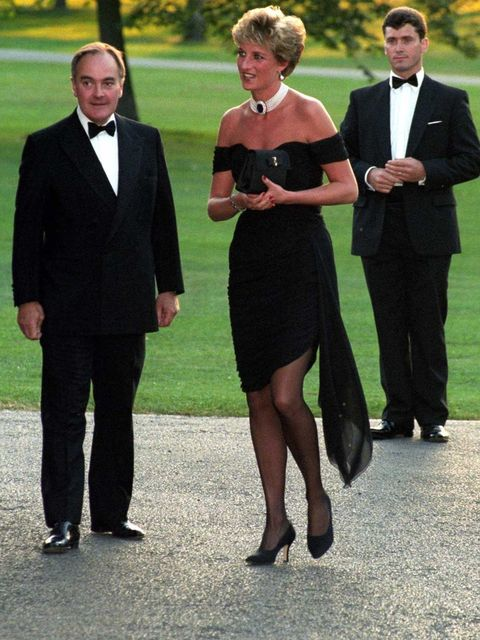 <p>Princess Diana matches her Manolo Blahnik heels with a strapless dress by Christina Stambolian at a charity dinner in 1994.</p>