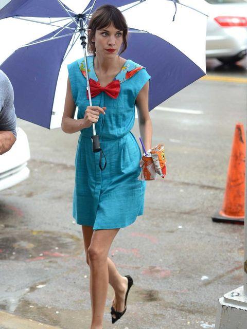 <p>Alexa Chung on the set of Gossip Girl</p>