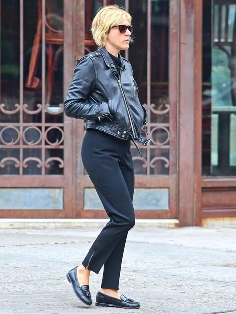 "<p><a href=""http://www.elleuk.com/star-style/celebrity-style-files/chloe-sevigny"">Chloe Sevigny</a> teaming her biker jacket with androgynous mix of loafers and tailored trousers</p>"