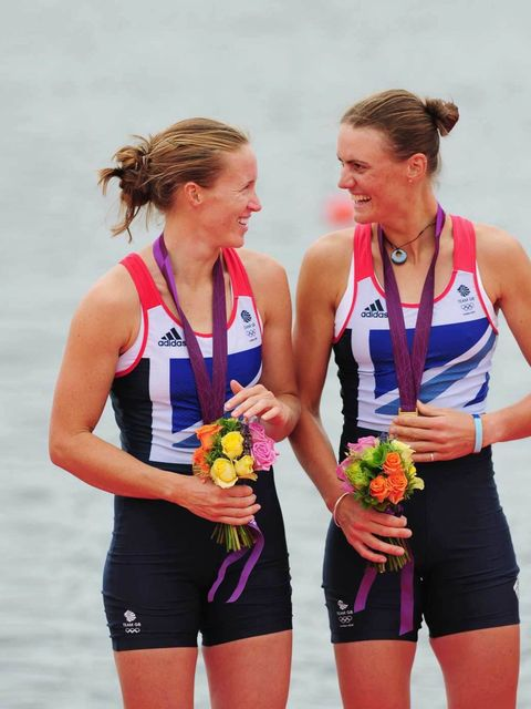 "<p>Helen Glover and Heather Stanning wearing the <a href=""http://www.elleuk.com/fashion/news/stella-takes-the-title"">Stella McCartney Team GB Olympic Kit </a>celebrate their gold medals during the London Olympics, August 2012.</p>"