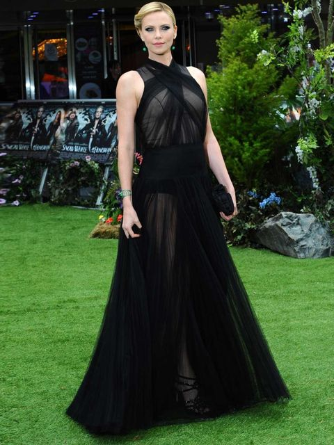 <p>Charlize Theron in Dior Couture at the SWATH premiere</p>