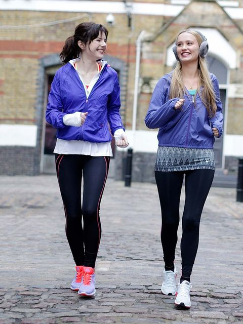 "<p><em>Georgia Simmonds, Features Assistant, and Joely Walker, Beauty Assistant. </em></p><p>Georgia (pictured left): <a href=""http://store.nike.com/gb/en_gb/"">Nike</a> Top and Trainers, <a href=""http://www.sweatybetty.com/"">Sweaty Betty</a> Leggings and"