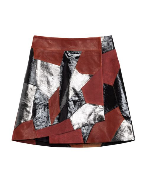 <p>Leather and suede skirt, £185</p>