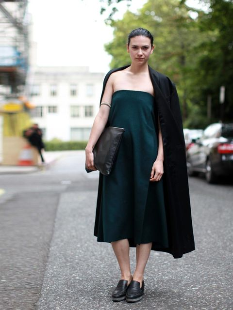 "<p><strong>LONDON</strong></p><p>Elizabeth Black is wearing Yifang Wan dress, vintage jacket, J. JS Lee shoes, American Apparel bag.</p><p><a href=""http://www.elleuk.com/style/street-style/new-york-fashion-week-street-style2"">NYFW Street Style</a></p><p><"
