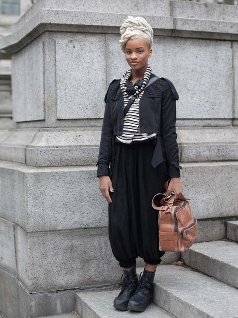 "<p>Allison wears Funktional jacket, Thrifted pants and stripe jacket, Y.R.U shoes and a necklace from her own label, Petrichor Designs.</p><p><a href=""http://www.elleuk.com/style/street-style/new-york-fashion-week-autumn-winter-13"">New York Fashion Week s"