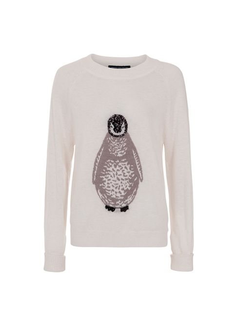 "<p><a href=""http://www.frenchconnection.com/product.aspx?categoryid=Woman%20Collections%20Knitwear&productid=78CPE&seoterm=Penguin%20Knitted%20Jumper&"" target=""_blank"">French Connection jumper</a>, £85</p>"