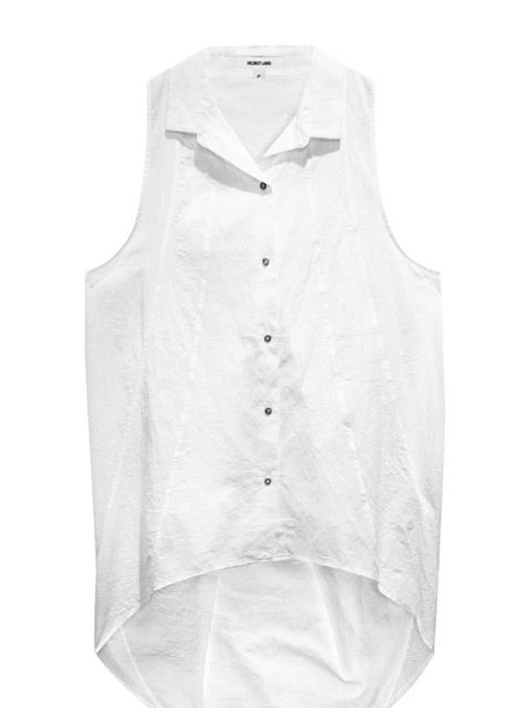 "<p>Helmut Lang sleeveless shirt, £150, at <a href=""http://www.glassworks-studios.com/product/hel10000/"">Glassworks Studios</a></p>"