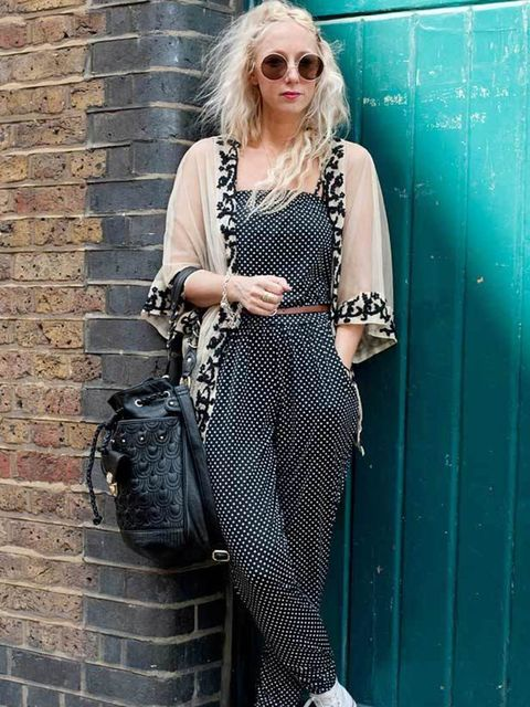 <p>Photo by Kirstin Sinclair. Hannah Thompson, 31, Stylist. Urban Outfitters jumpsuit, Topshop kimono & bag, Converse trainers, H&M sunglasses.</p>