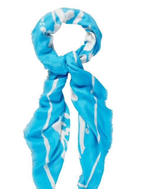 "<p><a href=""http://www.ascherstudio.co.uk/shop/scarf-shop/cashmere-/trellis-turquoise/cream-graham-sutherland"">Ascher London</a> 'Trellis' scarf, £250</p>"