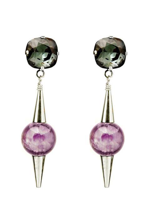 """<p><a href=""""http://www.merleogrady.com/shop"""">Merle O'Grady</a> amethyst drop earrings, £67.40</p>"""