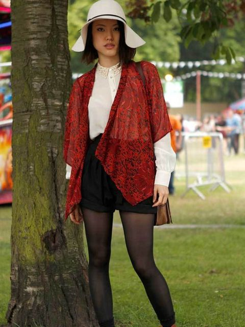 <p>Photo by Anthea Simms.Cassie, 25, Hairdresser. Topshop jacket and boots, vintage blouse, shorts and hat, bag from Pop up shop.</p>