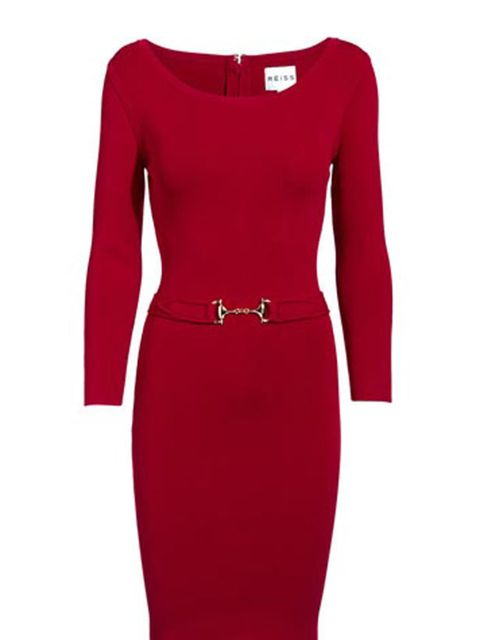 "<p><a href=""http://www.reissonline.com/shop/womens/dresses/katie/cherry/"">Reiss</a> bodycon dress, £179</p>"