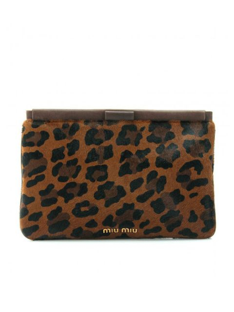 "<p>Miu Miu animal print haircalf frame bag clutch, £320, at <a href=""http://www.mytheresa.com/uk_en/animal-print-haircalf-frame-clutch.html"">mytheresa.com</a></p>"