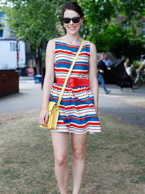 <p>Photo by Kirstin Sinclair.Helen, 28, PR. Primark dress, Topshop sandals, New Look bag.</p>