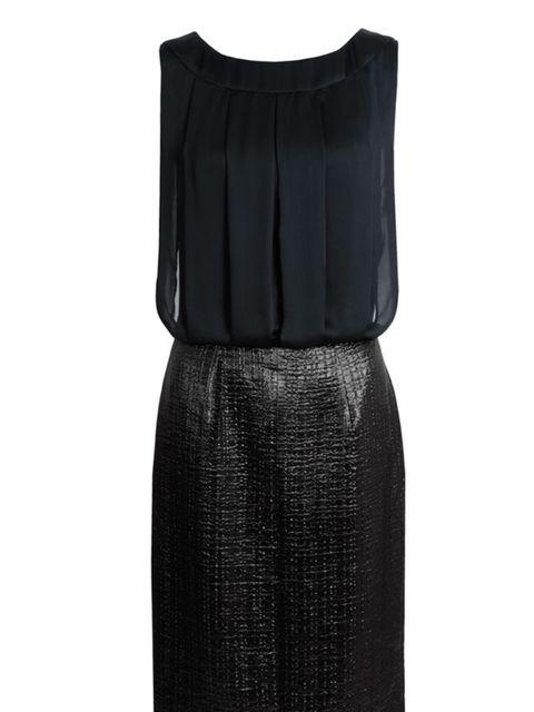<p>THE LBD</p><p>Nicole Farhi leather and silk dress, £</p>