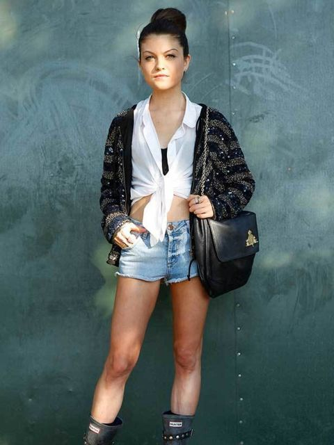 <p>Photo by Anthea Simms.Cara Donegan, 20, Trainee Accountant. Reiss jacket, American Apparel blouse, Topshop shorts, H&M bracelet, Hunter wellies, Mulberry bag.</p>