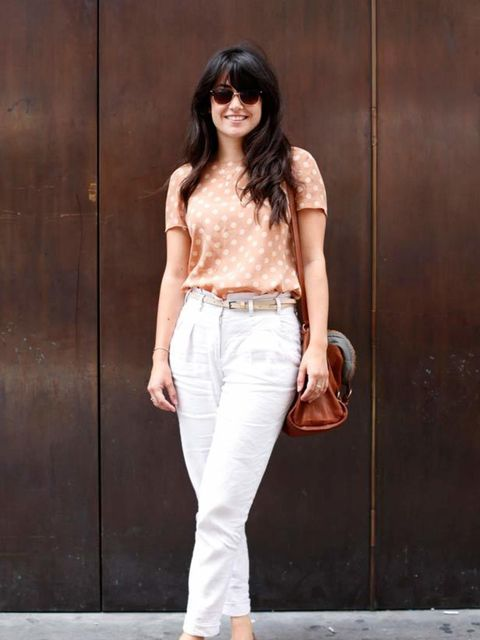 <p>Photo by Silvia Olsen @ Anthea Simms.Keighley, 22, Fabric/Print Designer. Zara t-shirt and shoes, Topshop trousers, See by Chloe bag, Ray Ban sunglasses.</p>