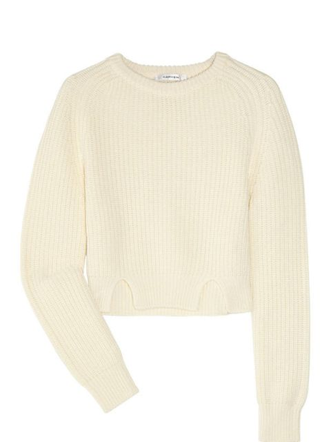 "<p>Carven cropped wool jumper, £310, at <a href=""http://www.net-a-porter.com/product/163685"">Net-a-Porter</a></p>"
