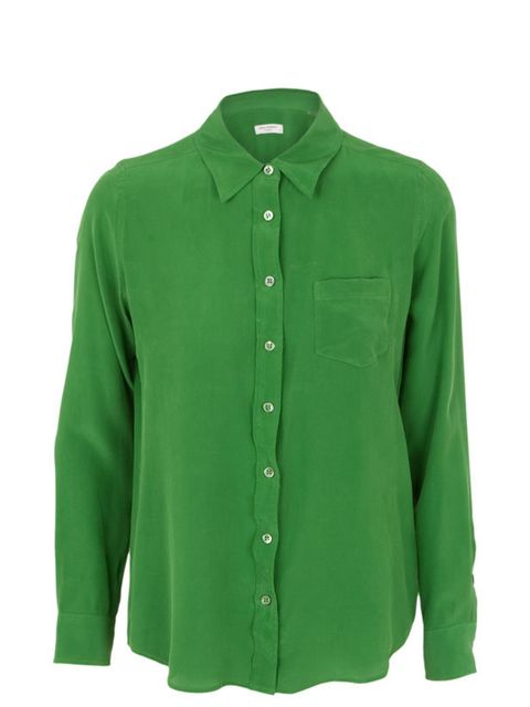"<p>Equipment fitted silk shirt, £235, at <a href=""http://www.harveynichols.com/womens/categories-1/designer-tops/blouses-shirts/s366637-brett-fitted-silk-shirt.html?colour=GREEN"">Harvey Nichols</a></p>"