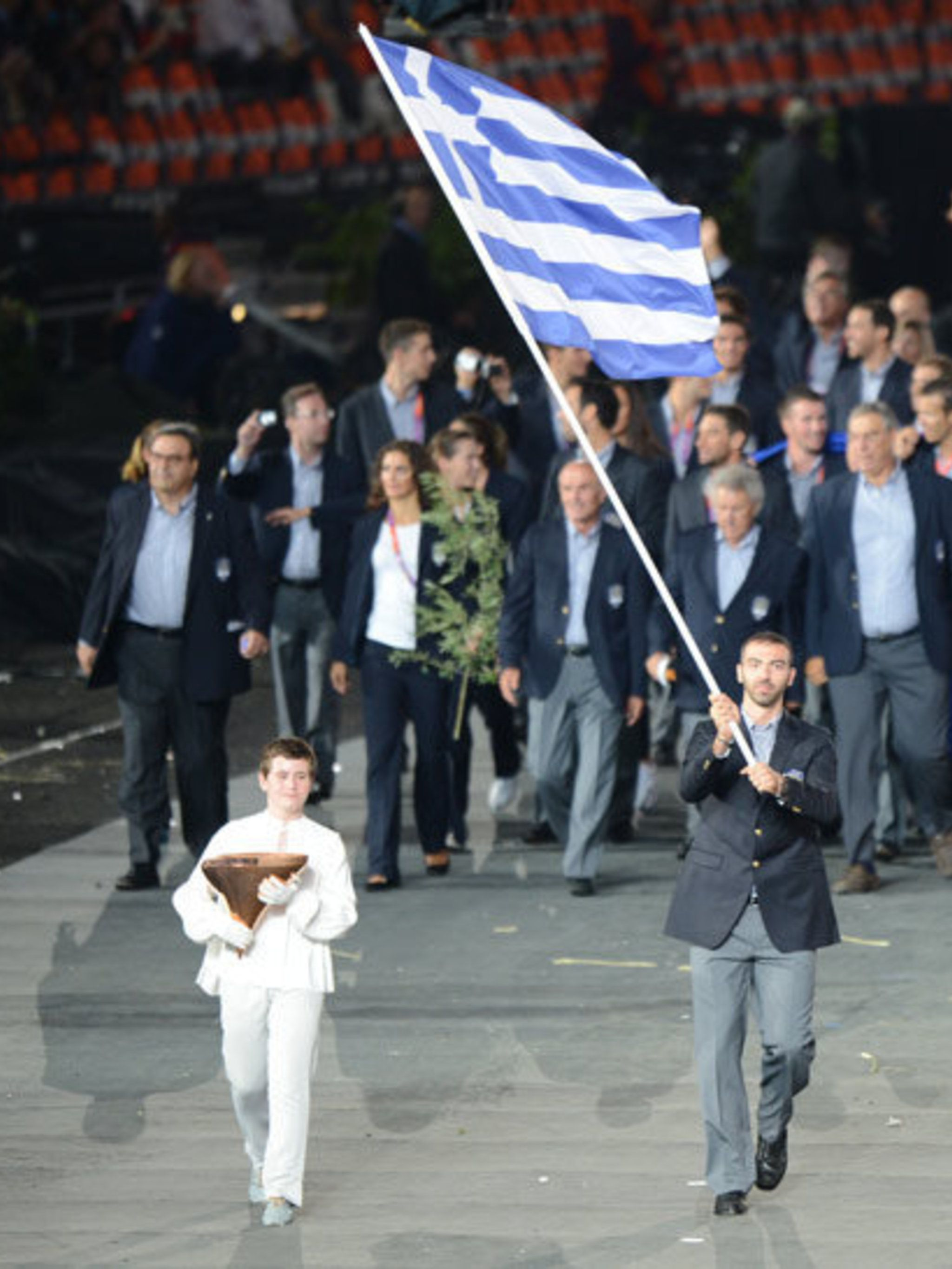 <p>Greece begin the parade of athletes at the Olympic Opening Ceremony a the London 2012 Games.</p>