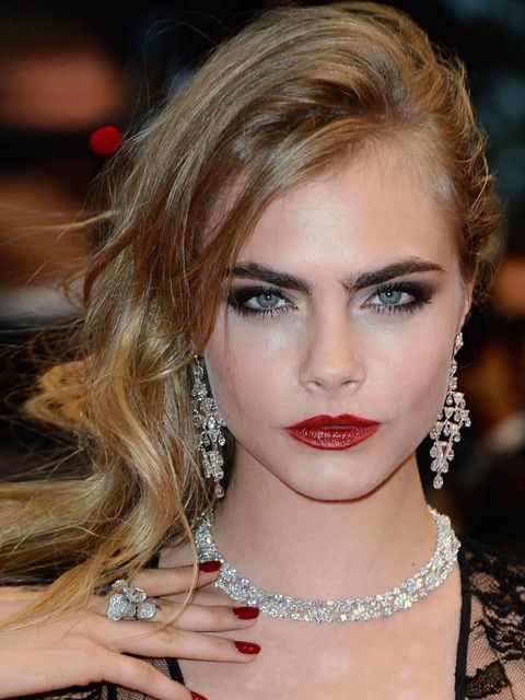 """<p><a href=""""http://www.elleuk.com/star-style/celebrity-style-files/cara-delevingne-model-of-the-year-2012""""></a></p><p>A <a href=""""http://www.elleuk.com/star-style/celebrity-beauty/celeb-make-up/best-celebrity-red-lips"""">bold red lip</a> and smoky eyes ooze"""
