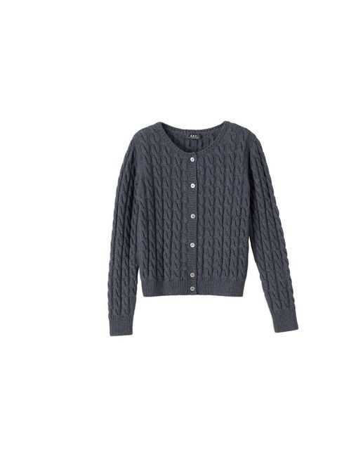 """<p>Add a cable-knit cardigan into the mix for a more textured, layered outfit. We love this preppy crew neck in school uniform grey... <a href=""""http://www.apc.fr/wwuk/women/cardigans/little-cardigan-in-thick-cotton_pFVDD0007/colour-heathered-blue-grey_dBA"""