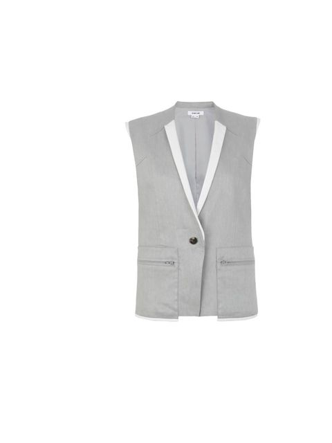 "<p>Helmut Lang glossy linen sleeveless jacket, £435, at <a href=""http://www.harrods.com/product/glossy-linen-vest/helmut-lang/000000000003134064?cat1=bc-helmut-lang&amp&#x3B;cat2=bc-helmut-lang-all"">Harrods.com</a></p>"