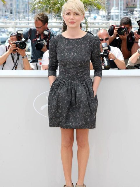 <p>Michelle Williams in a Suno dress and Stella McCartney wedges </p>