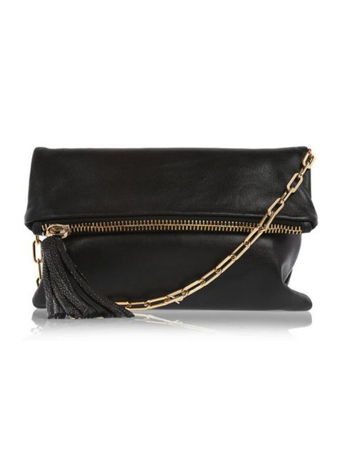 <p>Anya Hindmarch 'Huxley' stingray-trimmed leather clutch, £495, at Net-a-Porter</p>