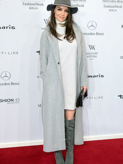 <p></p>  <p>Katie Holmes wears Marc Cain at the Marc Cain a/w 2015 catwalk show at Mercedes Benz Fashion Week in Berlin, January 2015.</p>  <p></p>