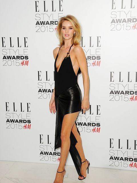 """<p><a href=""""http://www.elleuk.com/tags/rosie-huntington-whiteley"""">Rosie Huntington-Whiteley</a>wears Anthony Vaccarello at the ELLE Style Awards, London, February 2015.</p>"""