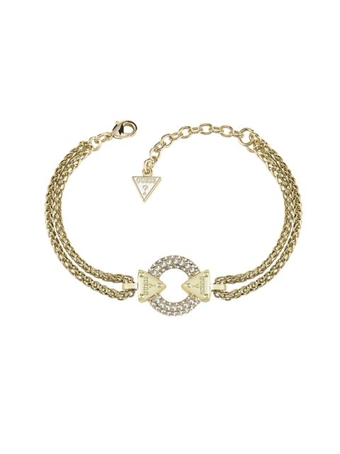 """<p><a href=""""http://www.hsamuel.co.uk/webstore/d/3765342/guess+yellow+gold+plated+chain+circle+lock+bracelet/"""" target=""""_blank"""">Embrace Me</a> Gold Plated Bracelet, £95</p>"""